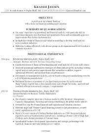 Sample Resume For Someone Seeking A Job In Investment Banking With Focus On Financial Modeling And Valuation