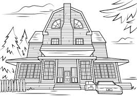 Click To See Printable Version Of Scary Haunted House Coloring Page