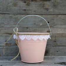 Rustic Flower Girl Bucket Blush Pail With White Lace Wedding Decor