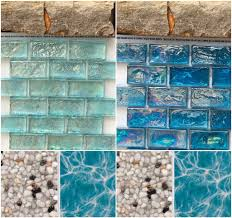 Npt Pool Tile And Stone by Iridescent Glass Tile On Raised Wall Blinding Glare