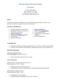 Gallery Of Sample Resumes For Receptionist