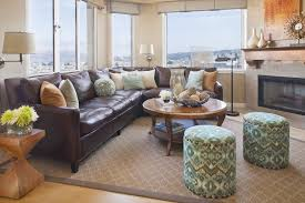 Transitional Living Room Leather Sofa by Brown Leather Couch Living Room Transitional With Benjamin Moore