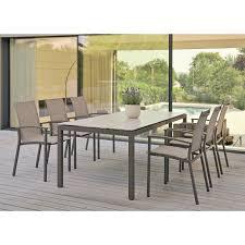 gartenmöbel set mit stuhl evoee und gartentisch aluminium taupe hpl 7 teilig