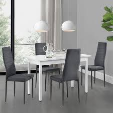 en casa essgruppe set 5 tlg esstisch mit 4 stühlen honningsvåg küchentisch weiß 120x60 cm polsterstuhl grau kaufen otto