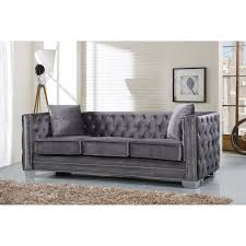 meridian furniture 648gry s reese grey velvet sofa w tufted back