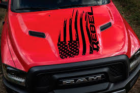 100 Rebel Flag Truck Product Distressed American Dodge Ram Hood Logo