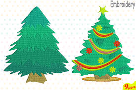 Christmas Tree Embroidery Design Machine Instant Download Commercial Use Digital File 4x4 5x7 Hoop Icon