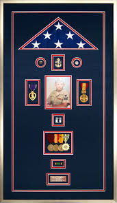 An Example Of A Custom Flag Display Case With Navy Memorabilia For Veteran