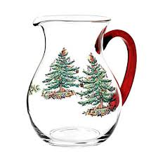 Spode Christmas Tree Glass Pitcher With Red Handle
