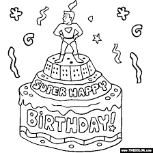 Super Happy Birthday Cake Online Coloring Page