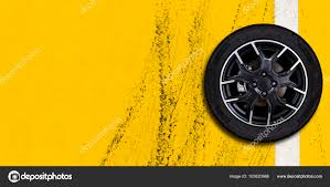 100 Tire By Mark Alloy Wheels On Tire Mark With Yellow Concrete Road Copy