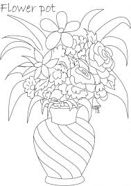 Pot In Rose Drawing Images Flower Coloring Pages Eassume