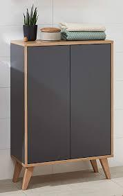 fackelmann finn badmöbel set 2 teile doppel midischrank mit push to open fürs bad 4 holzfüße badschrank mit 2 türen korpus front