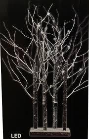 PRE LIT WARM COOL WHITE LED BIRCH TWIG TREE XMAS TABLE DECORATION LIGHT 90CM