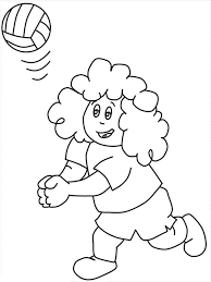Print Curly Kid Play Volleyball Coloring Page In Full Size