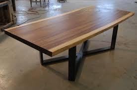 Reclaimed Monkeypod Slab Dining Table With Cross Leg