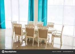 Dining Room Wooden Table Chairs Bright Interior Blurred ... Upholstered Modern Ding Room Chairs Mid Century Table Teal Blue Fabric Set Of 2 Edloe Finch Colorful Painted Inspiration Addicted Mod The Sims And Chair In 12 Fluro Colours Hot Item Extension Hpl Glass Grey Fniture Table With Chairs Lamps Whats On Pinterest Keep Calm These Beautiful Turquoise Amazing Resin Gorgeous Oak 6 Made For Sale Weybridge Surrey Gumtree American Drew Park Studio Contemporary 9 Piece Bright In Style With Designer Kitchen Lazboy