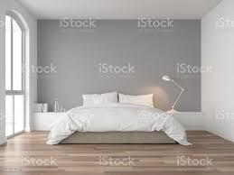minimales schlafzimmer mit grauer wand 3d render stockfoto und mehr bilder architektur