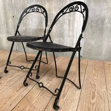 Set Of Three Vintage Folding Wrought Iron Chairs - RT Facts Set Of Six Italian Iron Leather Folding Chairs Circa 1950 Fniture Pair Wood Inessa Stewarts Antiques Millwards Wooden Chair Anthology Vintage Hire Worldantiquenet Old And Danish Made Iron Wood Garden Folding Chair Manssartoux Stock Robinia Spring Outdoor In Fiam Amazoncom Biscottini 2 Antique Handicrafts Directors Style With Frame Sturdy French And Vinterior Antique French Folding Chair Bi3 Portable Seating Multipurpose For