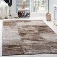 designer teppich modern wohnzimmer teppiche kurzflor karo meliert braun beige