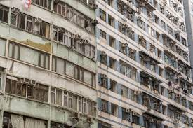 Detail Of Old Run Down Apartment Block In Hong Kong Stock Photo