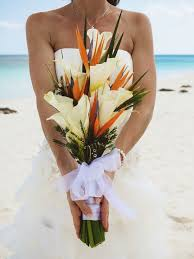 Tall Beach Wedding Bouquet From A Mexico Destination By Natalie Champa Jennings Photography