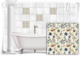 fliesen aufkleber fliesen bild blätter blumen grau blau pastell floral bad wc deko
