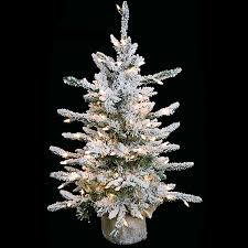 32 Inch Flocked Long Needle Christmas Tree Clear Lights