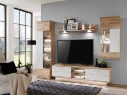 ideal möbel wohnwand alfonso kombination 17 absetzung in weiß folie matt mit hängeschrank tv element vitrine und wandbord 4 tlg anbauwand für