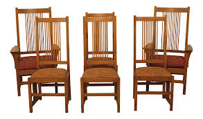 1990s Vintage Stickley Mission Oak Arts & Crafts Dining Room Chairs- Set Of  6 Kitchen Design Oak Ding Room Table Chairs Art Piece Mission Craftsman Vermont Woods Studios Set Amish And 4 Side New Classic Fniture Designed Nhport With Chair Home Envy Furnishings Solid Wood Floor Lighting Frame Architecture Arts Bathroom Bepreads Custom Made Cherry Style Fixtures Prairie Chandeliers Closeout Special Price Modern Leg 6 Chairs