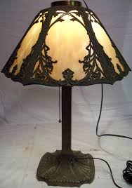 Frederick Cooper Porcelain Table Lamps by Antique Victorian Old Miller Slag Stained Glass Shade Table Lamp