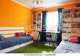 kinderschlafzimmer in orange und blau kinderzimmer in