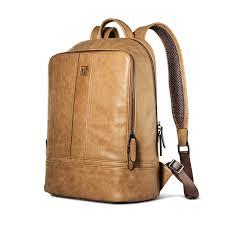 Collar Business Men Leather Shoulder Bag Leisure Travel Backpack Computer Retro Tide Of