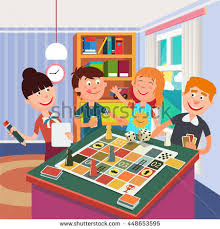 Happy Family Playing Board Game At Home Vector Illustration