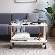 multifunktions mobile esszimmer warenkorb hause wohnzimmer sofa massivholz kaffee tisch seite tabelle 2 schichten lagerung regale mit räder