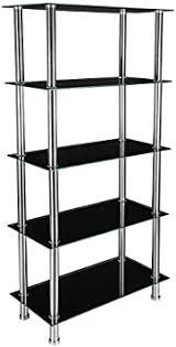 glas regal bücherregal 5 etagen mit chrom beine tisch regal rack für wohnzimmer möbel schwarz