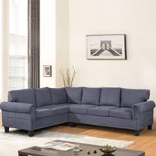 HarperBright Designs LShaped 2 Piece Sectional Sofa Set With Nail Decorate Grey