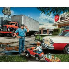J0319 Semi Truck Driver Car Parts Gas Vintage Pop 14x21 24x36 Inches ...