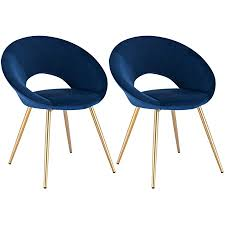 woltu esszimmerstühle bh230bl 2 2er set küchenstuhl polsterstuhl wohnzimmerstuhl sessel sitzfläche aus samt metallbeine gold blau