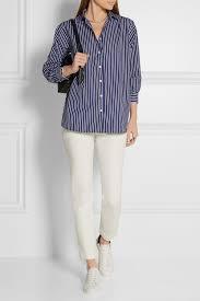 totême capri striped cotton poplin shirt in blue lyst
