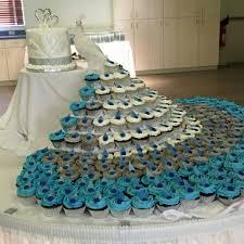 peacock wedding cakes with cupcakes Cupcake Wedding Cakes