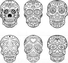 Easy Sugar Skull Day Of by Set Of Hand Drawn Sugar Skulls Day Of The Dead Dia De Los Muertos