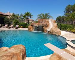 Excellent Swimming Pool With Diving Boards Mediterranean Slide Board And Water Fountain
