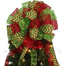 Large Red Lime Green Chevron Glitter Tree Topper Christmas Bows