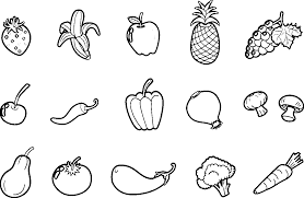 Pictures Of Fruits And Vegetables For Coloring Kids