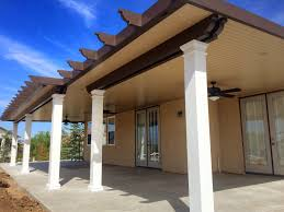 Patio Covers Las Vegas Nv by Decorating Cool Alumawood Patio Covers In Brown With White Poles
