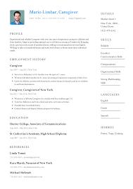 Caregiver Resume Templates 2019 (Free Download) · Resume.io
