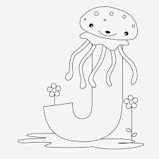 Printable Alphabet Coloring Pages Jelly Fish