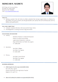 Gallery Of Resume For Teachers Job Application In India