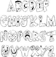 Scary Monsters Alphabet Coloring Pages